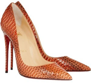 Christian Louboutin So Kate 120 Mm Watersnake 35.5 Orange, Papaye Pumps