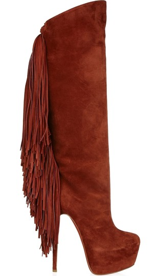 Christian Louboutin Interlopa Fringed Knee High Fringes Brick Red, Brown Boots Image 1