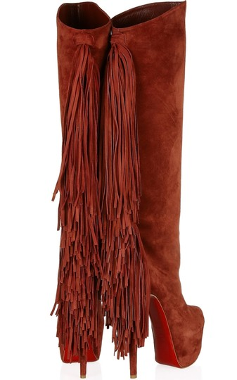 Christian Louboutin Interlopa Fringed Knee High Fringes Brick Red, Brown Boots Image 3