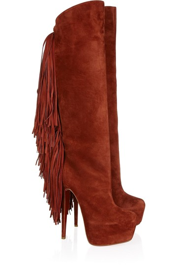 Christian Louboutin Interlopa Fringed Knee High Fringes Brick Red, Brown Boots
