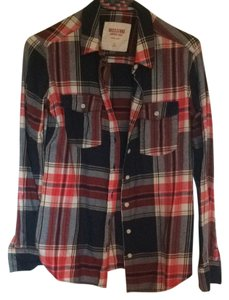 Mossimo Supply Co. Target Plaid Flannel Winter Button Down Shirt Red and blue