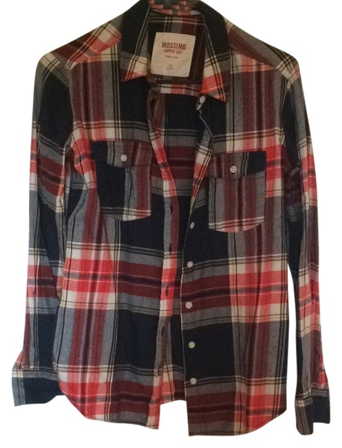 Mossimo Supply Co. Target Plaid Flannel Winter Fall Button Down Shirt Red and blue