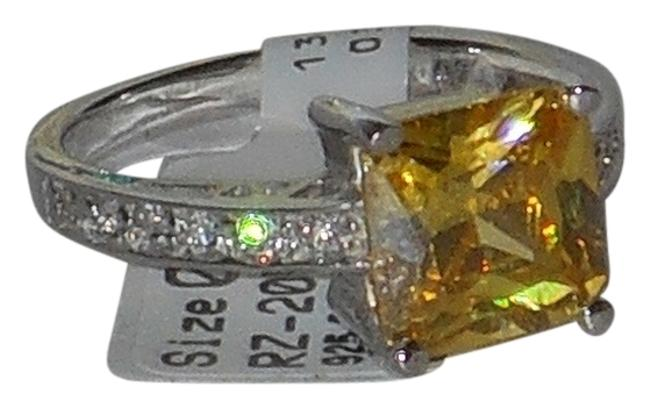 Item - Yellow Citrine 925 Sterling Silver White Topaz Accents Ring