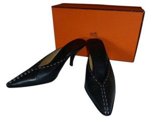 Hermès BLACK LEATHER W/ WHITE STITCHING Mules