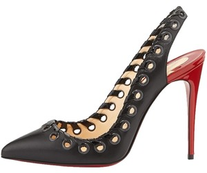 Christian Louboutin Ostri Sling Leather Black Pumps