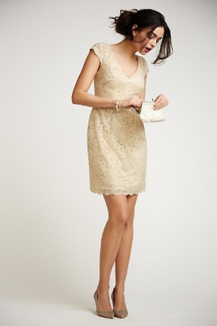 Item - Soft Gold Lace Beckett Formal Bridesmaid/Mob Dress Size 4 (S)