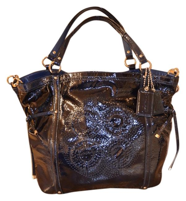 Coach Audrey Navy Patent Leather Cross Body Bag Coach Audrey Navy Patent Leather Cross Body Bag Image 1