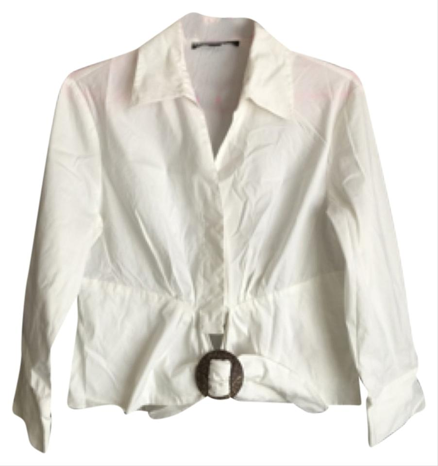 586f9bafbe313 Lafayette 148 New York White Belted Detail Blouse Size 6 (S) - Tradesy
