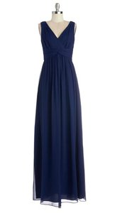 Donna Morgan Navy Chiffon Julia Formal Bridesmaid/Mob Dress Size 6 (S)