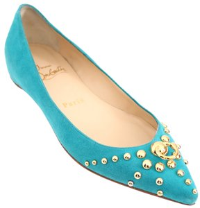 Christian Louboutin Door Knock Suede 6 36 5.5 Turquoise Teal Blue Flats
