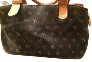 Dooney & Bourke Leather Satchel in brown with multi-colored DB throughout