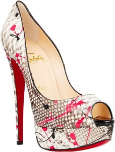 Christian Louboutin Lady Peep Splatter Print Python 36.5 6.5 150 Mm Platform Snakeskin Pink Grafitti Splash White, Fuchsia, Multi Pumps