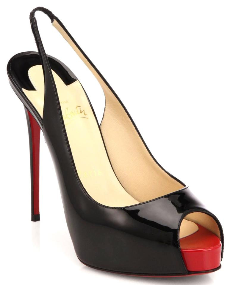 475898bc8a5 Christian Louboutin Black Red New Private Number 120mm Patent Leather  Slingbacks Pumps Size US 10.5 11% off retail