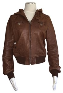 Miss Sixty Bomber Leather Hooded Brown Leather Jacket