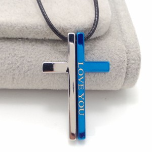 Split Love You 2 Tone Silver/blue Cross Necklace Free Shipping