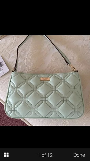 Kate Spade Color Quilted Leather Wristlet in MINT GREEN