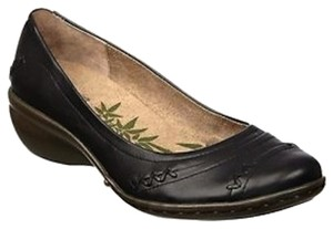 Easy Spirit Leather Wide Width Black Flats