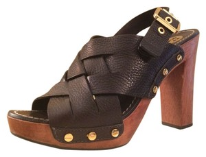 Tory Burch Jodie Tumbled Leather Womens Wooden Sandals Brown Platforms