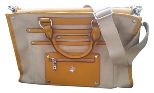 KNOMO Tote Briefcase Work Leather Beige Kakhi, Yellow Messenger Bag