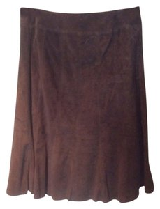 Ann Taylor Suede Lined Suede Skirt Chocolate Brown