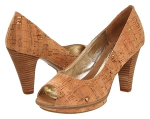 Eürosoft by Söfft Peep Toe Pump Gold Cork Platforms
