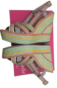 Kate Spade Tan with Pastel Grosgrain Accents Wedges