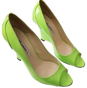 Brian Atwood Patent Leather Chartreuse Wedges