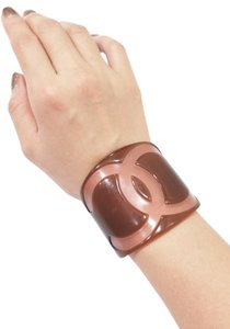 Chanel Authentic Chanel Light Brown/ Beige Wide Bangle Cuff