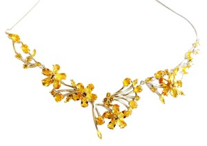 Other Stunning Golden Citrine, White CZ 925 Sterling Silver 14k Necklace
