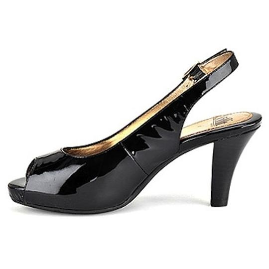 Eürosoft by Söfft Peep Toe Patent Leather Wide Width Black Pumps Image 2