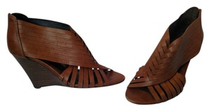 Vince Camuto Leather Strappy Wedge brown Wedges