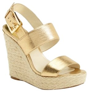 Michael Kors Posey Espadrille Gold Wedges