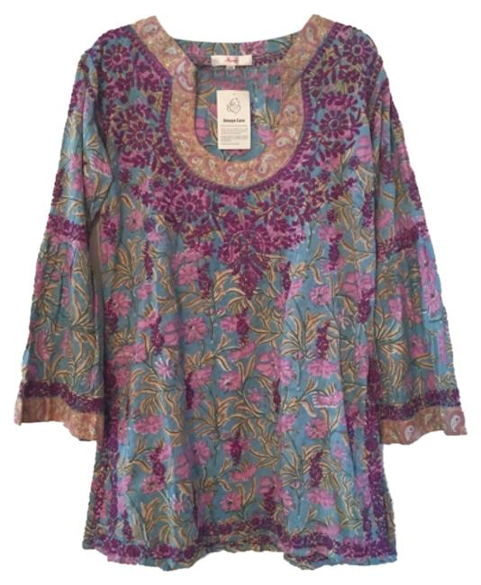 Item - Purple Bohemian Embroidered Bohemian Tunic Bohemian Above Knee Short Casual Dress Size 14 (L)