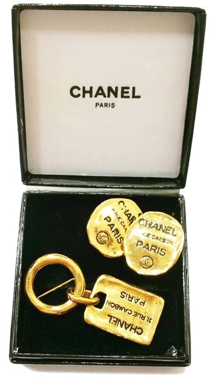 Chanel Authentic Chanel Rare SET 18K Gold Plated Dog Tag Earrings and Brooch