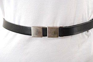 Prada PRADA Black 100% Leather Belt w/Logo'd Silver Buckle - WONDERFUL - Sz 80/US 32