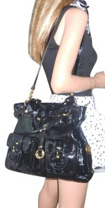 Elliott Lucca Patent Leather Buckle Tote in Black