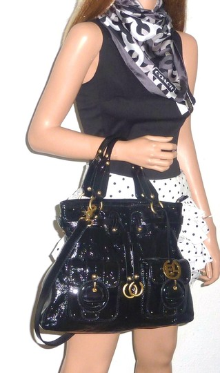Elliott Lucca Patent Leather Buckle Drawstring Estella Front Pockets Tote in Black