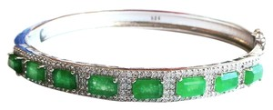 Stunning Natural Genuine Emerald, 925 Sterling Silver 14k Bangle Bracelet
