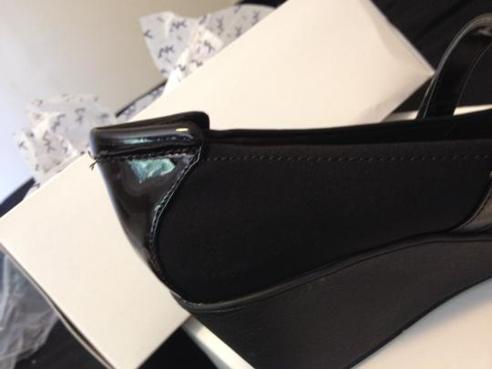 Anne Klein black material with black faux patent toe Wedges