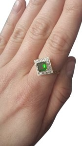 Barneys New York Emerald cut Chrome Diopside 10k gold