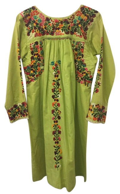 traditional Mexican short dress green on Tradesy