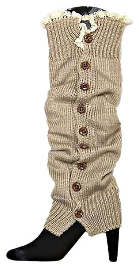 Other Beige Knitted Lace Top Button Down Leg Warmer Boot Socks