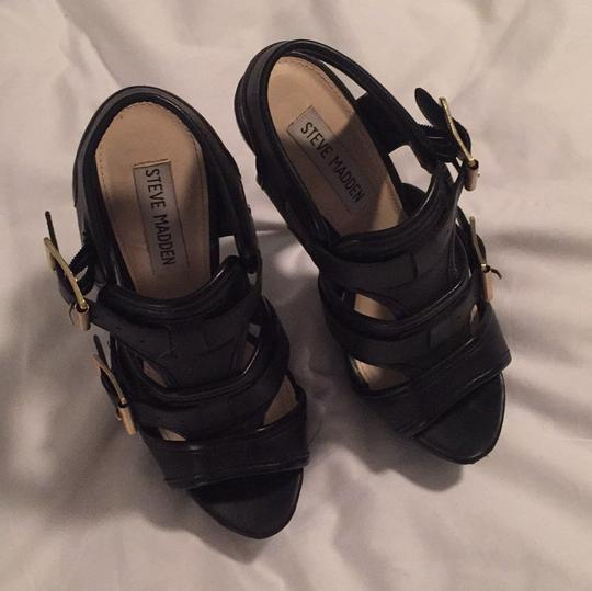Steve Madden Black Leather Platforms