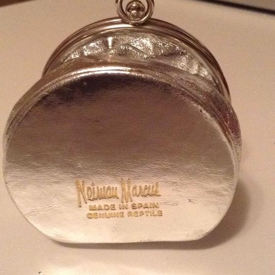 Neiman Marcus Silver Coin Purse Silver Leather
