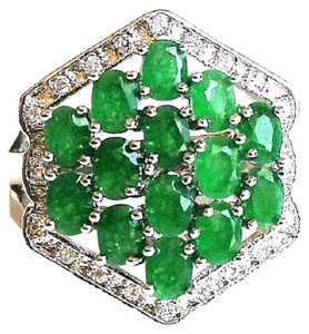 Elegant Genuine Natural Green Emerald, White Zircon 925 Sterling Silver 14k Ring