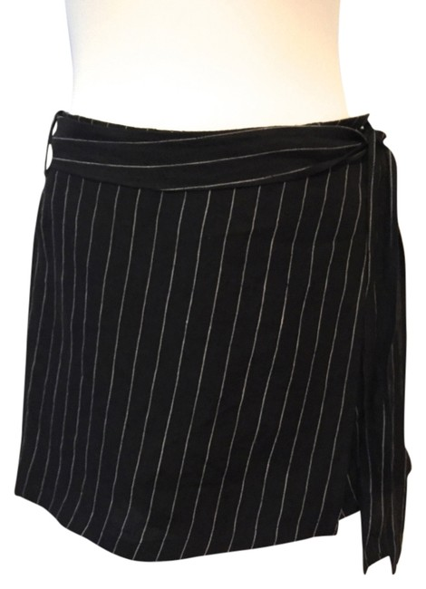 DKNY Wrap Mini Pinstripe Mini Skirt Black
