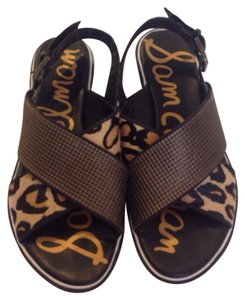 Sam Edelman Chunky Chunky Crisscross Strap Cheetah Coachella Brass Hardware Leather Sandals