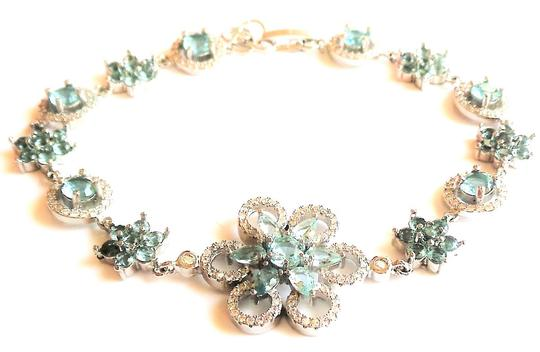 Other Gorgeous Sky Blue Topaz and White Zircon 925 Sterling Silver 14k Bracelet