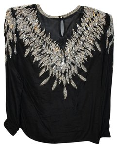 Other Embellished Sequins Top Black and White