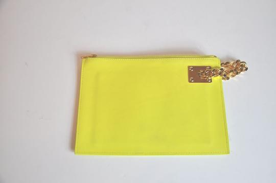 Sophie Hulme Zip Closure Clatch Wristlet in Yellow